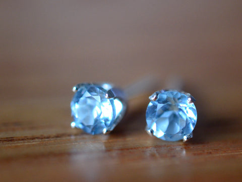 5mm Sky Blue Topaz Earrings in Sterling Silver