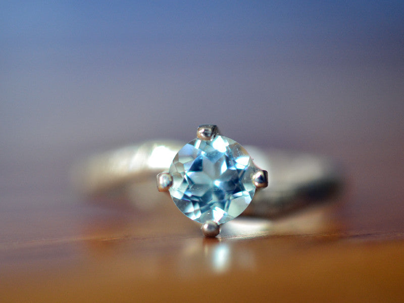 Simple Sterling Silver & Sky Blue Topaz Solitaire Ring