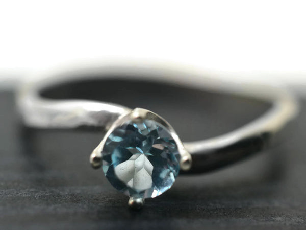 Simple Curved Silver Sky Blue Topaz Ring