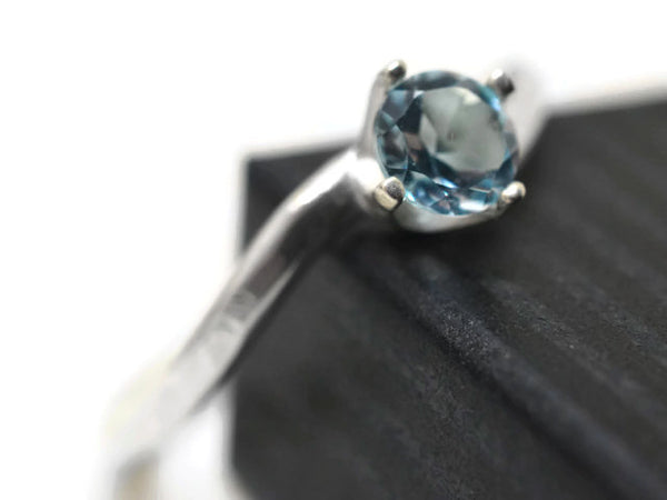 5mm Sky Blue Topaz Solitaire Ring