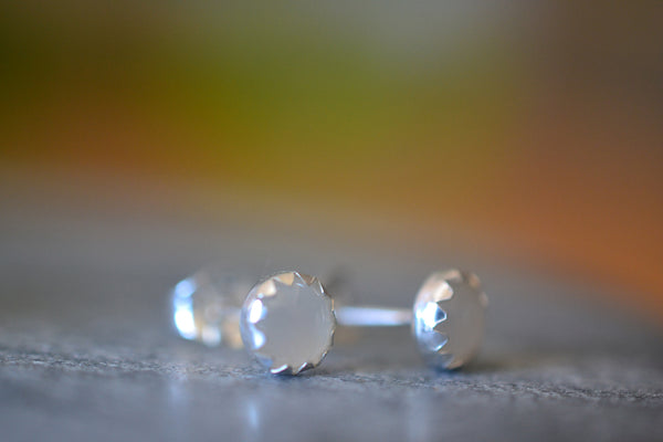 Dainty 5mm Round White Moonstone Crystal Studs in Sterling Silver