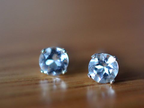 5mm White Topaz Gemstone Studs in Sterling Silver