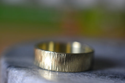 6mm Wide 14K Yellow Gold Tree Bark Wedding Ring