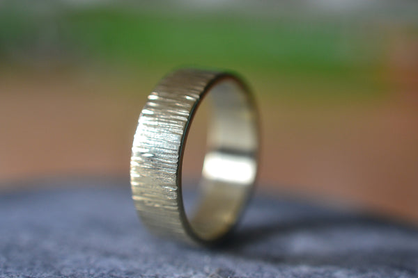 Personalised 14ct Yellow Gold Wood Bark Wedding Band For Men