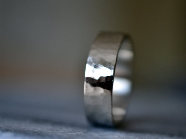 Personalised Recycled 14ct White Gold Wedding Band for Men
