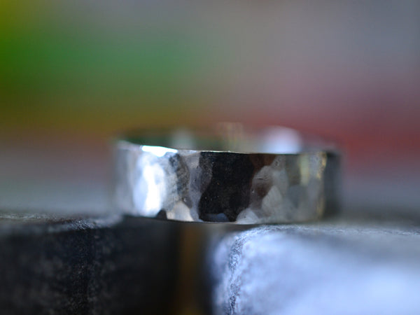 Personalised Recycled 14ct White Gold Wedding Band Hammered Finish