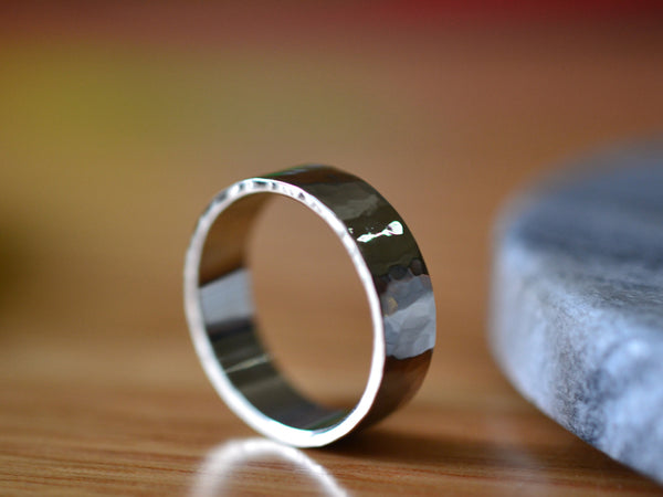 Custom Engraved Rugged 14K White Gold Wedding Band