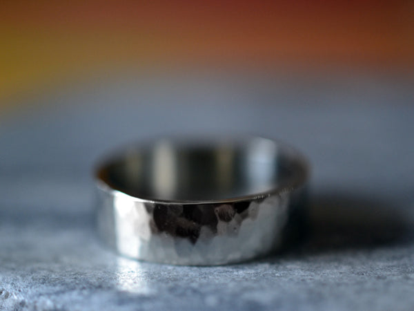 Male Wedding Band in 14K White Gold With Hammered Texture
