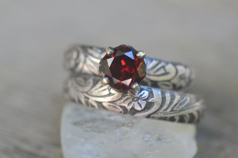 6mm Garnet Wedding Band Set in Gothic Silver