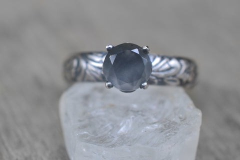 Gothic Grey Moonstone Engagement Ring