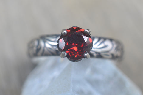 6mm Garnet Engagement Ring in Oxidised Silver