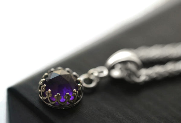 8mm Amethyst Wedding Necklace with Silver Wheat Chain