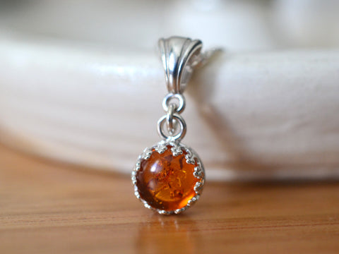 Handmade Sterling Silver Tiny Baltic Amber Necklace