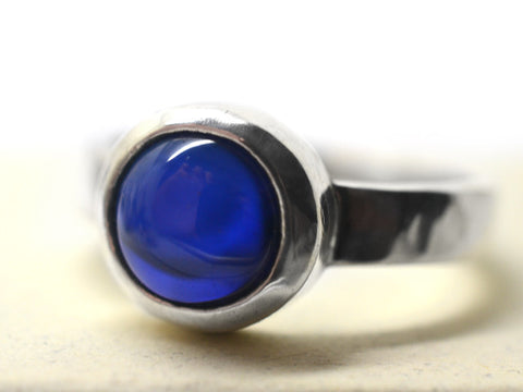 Women's Silver & Lab Created Blue Sapphire Statement Ring