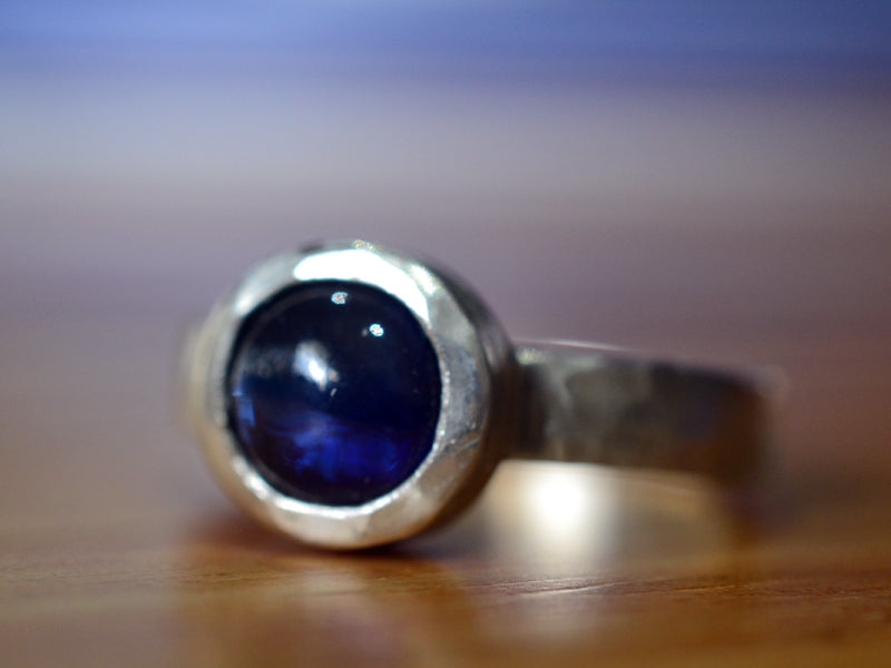 Women's Synthetic Blue Sapphire Statement Ring in Sterling Silver