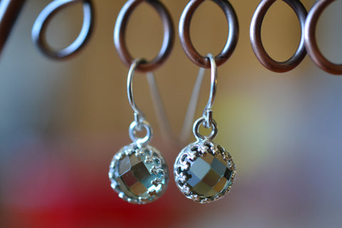 Sterling Silver Bezel Set Green Spinel Gemstone Earrings