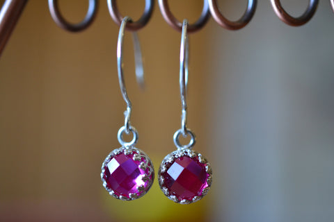 Simple Silver Bezel Set Synthetic Ruby Earrings With Hooks