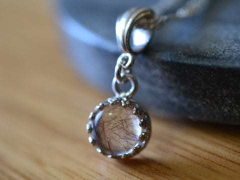 Simple Sterling Silver 8mm Copper Rutile Quartz Necklace