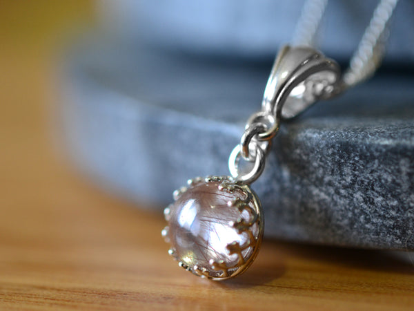 Natural 8mm Copper Rutile Quartz Cabochon Pendant in Silver