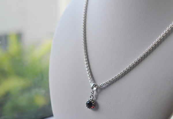 Red Garnet Bridal Pendant with Silver Chain