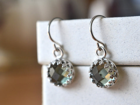 Handmade Sterling Silver Green Spinel Earrings