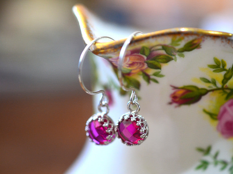 Handmade 8mm Pink Ruby Earrings in Sterling Silver
