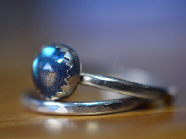 Handmade Sterling Silver Labradorite Engagement Ring Set