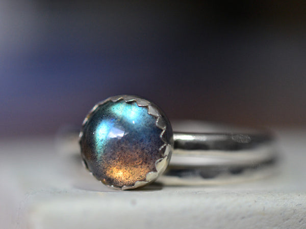 Handcrafted Sterling Silver Labradorite Wedding Ring Set