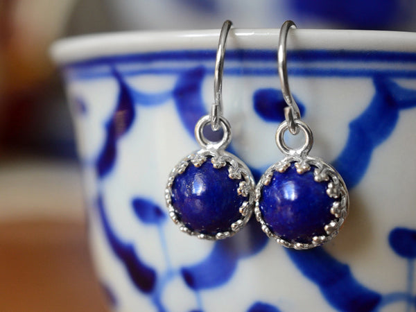 Dangly Sterling Silver & Lapis Lazuli Earrings