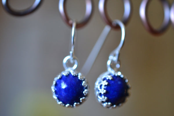 Natural 8mm Round Lapis Lazuli Cabochon Earrings in Silver