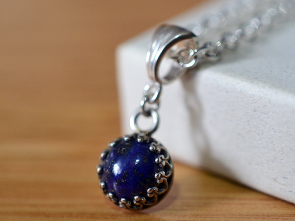Handmade Sterling Silver Lapis Lazuli Pendant with Chain
