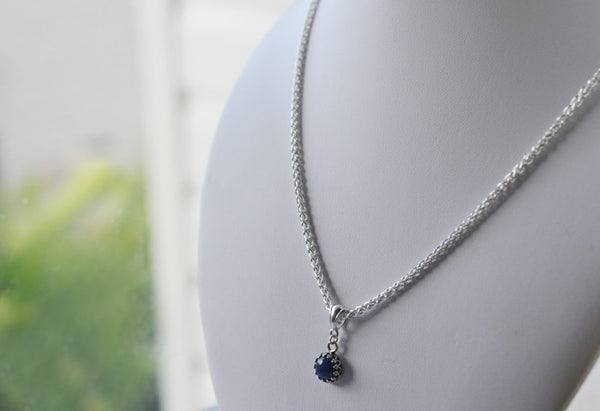 Tiny 8mm Lapis Lazuli Necklace with Silver Chain