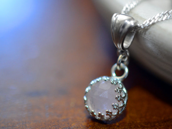 Handmade Morganite Solitaire Necklace in Sterling Silver