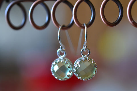Bezel Set Green Prehnite Earrings With Sterling Silver Hooks