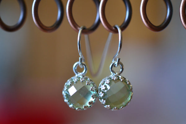 Natural Green Prehnite Crystal Drop Earrings in Sterling Silver