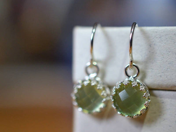 Natural Round Yellow Green Gemstone Earrings in Sterling