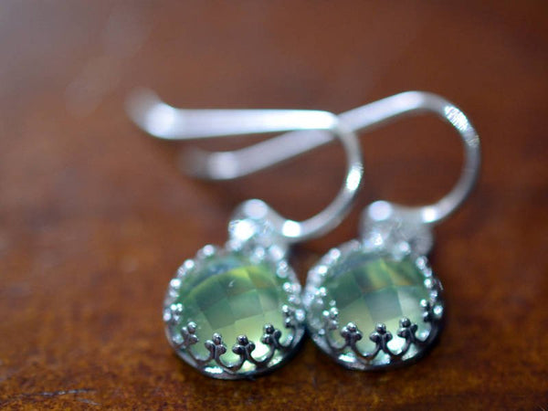 Women's Simple Green Crystal Drop Earrings in Sterling Silver