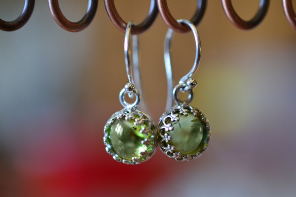 Women's Natural Green Peridot Earrings in Sterling Silver