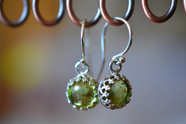 Women's Peridot Drop Earrings With Sterling Silver Hooks