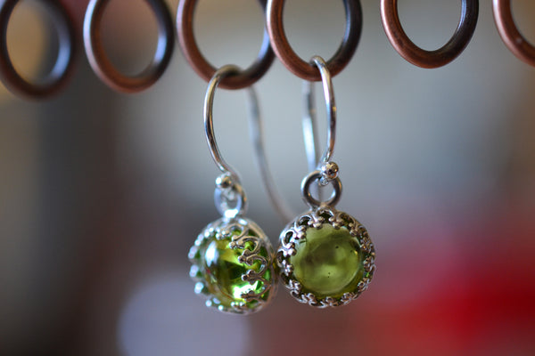 Natural Lime Green Peridot Crystal Earrings in Sterling Silver