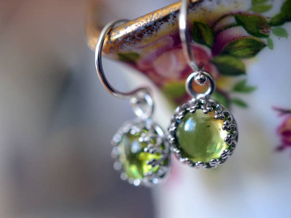 Dainty Round Peridot Gemstone Dangle Earrings In Sterling Silver