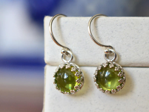 Handmade 8mm Round Peridot Cabochon Earrings in Silver