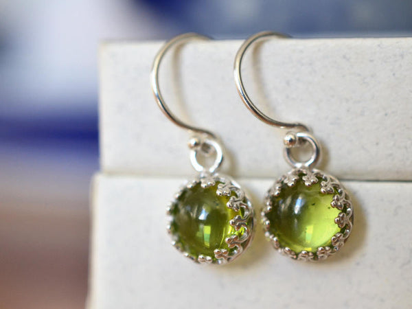 Natural 8mm Round Green Peridot Crystal Drop Earrings in Silver