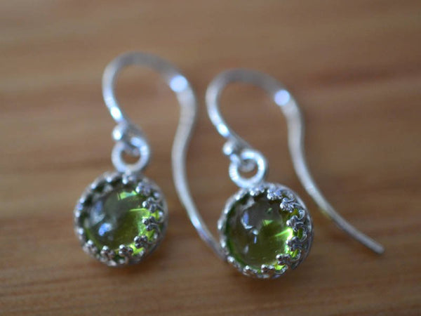 Simple Minimalist Peridot Earrings in Sterling Silver
