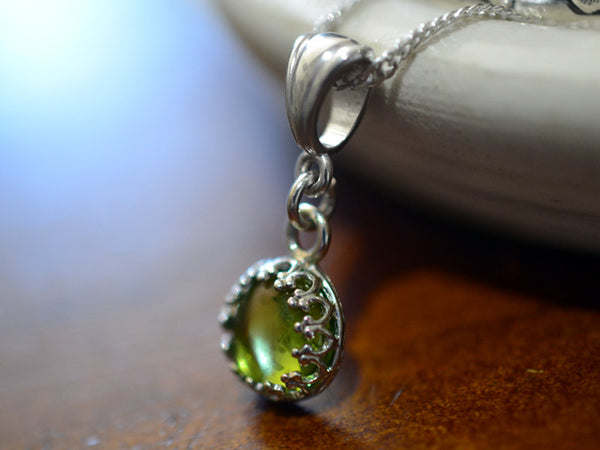 Handmade 8mm Peridot Pendant in Sterling Silver