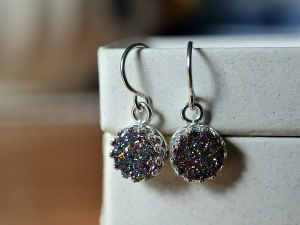 8mm Rainbow Druzy Agate Earrings with Sterling Silver Earwires.