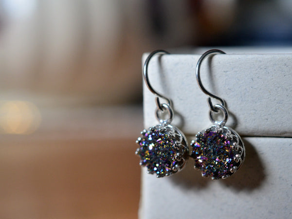 8mm Rainbow Druzy Agate Earrings with Sterling Silver Earwires