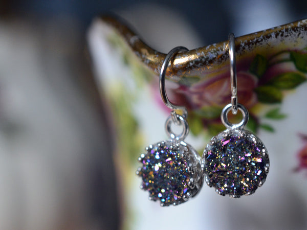 Dangly Sterling Silver & 8mm Rainbow Druzy Agate Earrings