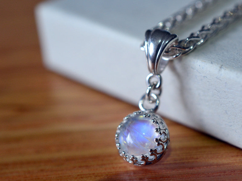 Simple Rainbow Moonstone Necklace in Sterling Silver