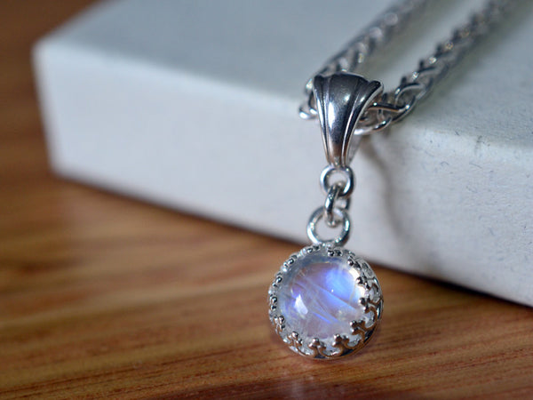 Handmade Sterling Silver & 8mm Rainbow Moonstone Necklace